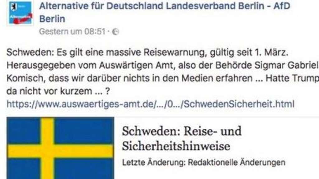 Reisewarnung für Schweden? Auswärtiges Amt widerspricht AfD