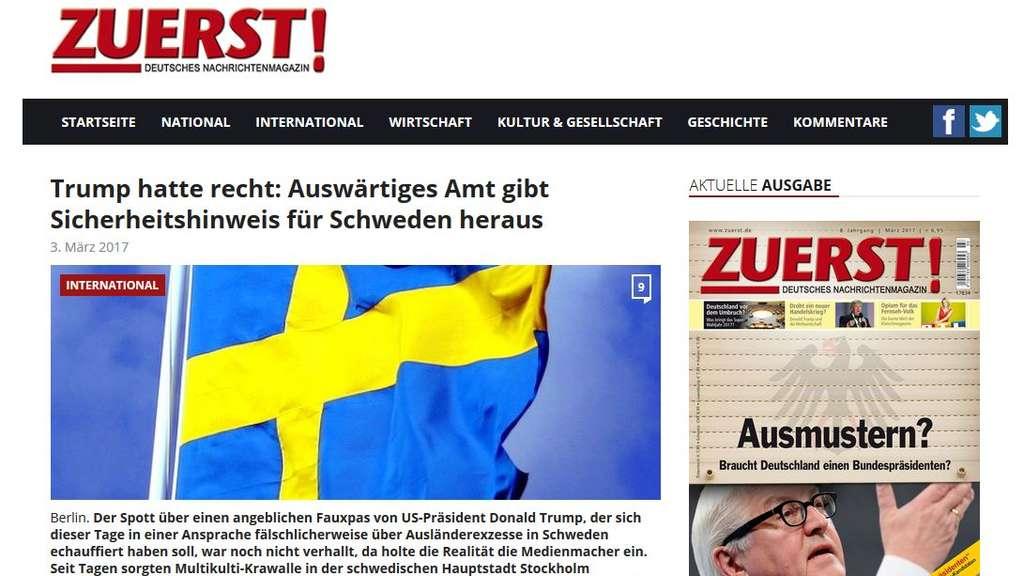 Wie zuvor schon Trump | Jetzt warnt auch die AfD vor Schweden-Terror