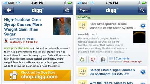 iPhone-App des Tages: digg.com