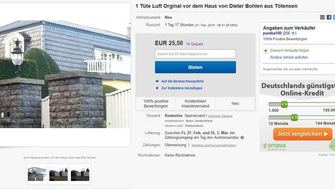 Dieter Bohlen Haus ebay dieter bohlen lufttüte wird versteigert kurios