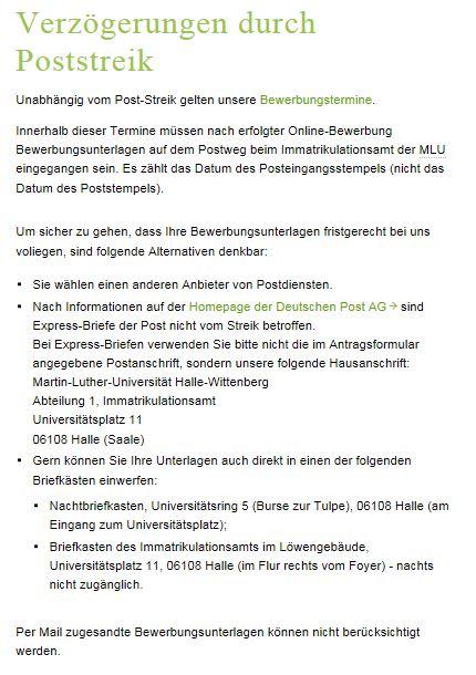 Rosenheim: Auswirkungen des Poststreiks auf die Studienplatz
