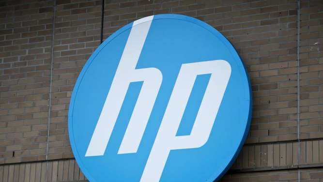 Das Logo der Computerfirma Hewlett Packard. Foto: Daniel Naupold/Illustration