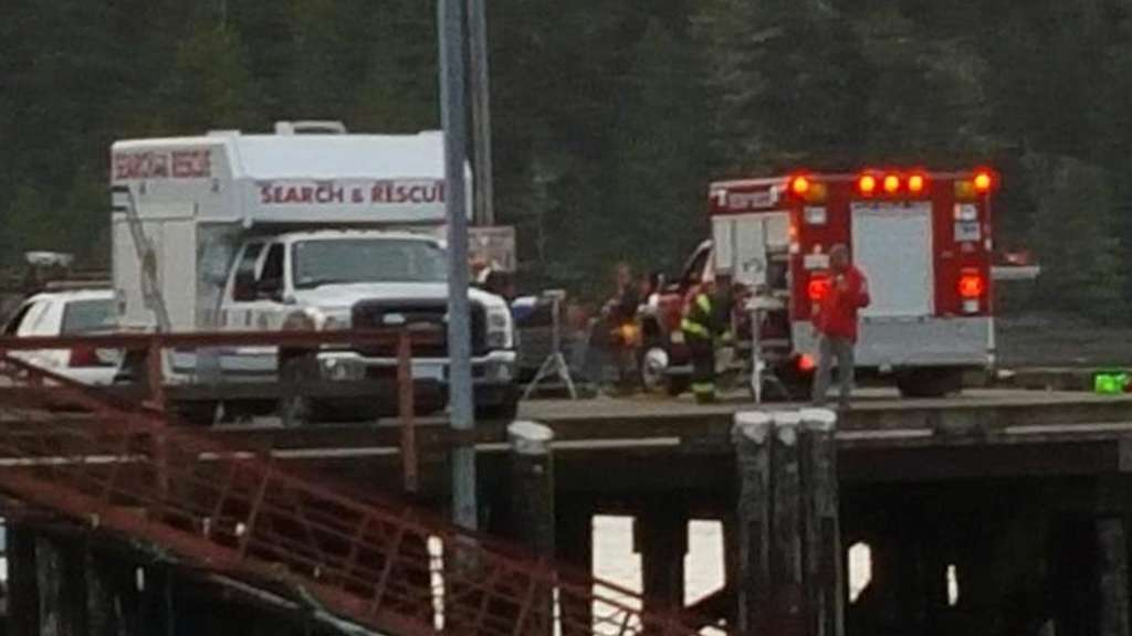 epa04997164 An image released via twitter from user @wilfred_frank showing the scene on a dock as rescuers gather following the sinking of the whale-watching boat 'Leviathan II' with a reported loss of 5 lives a few miles offshore from the Vancouver Island town of Tofino, British Columbia, Canada, 25 October 2015. Reports indicate that 21 people were rescued, five died and one is still missing. EPA/WILFRED FRANK VIA TWITTER EDITORIAL USE ONLY/NO SALES +++(c) dpa - Bildfunk+++