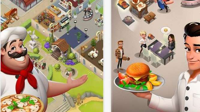 "Vom kleinen Restaurant zum Beachclub: Das Ziel beim Spiel ""World Chef"" ist es, mit leckereren Gerichten auf der Karriereleiter aufzusteigen. Screenshot: https://itunes.apple.com/de/app/world-chef/id1010677881?mt=8 Foto:"