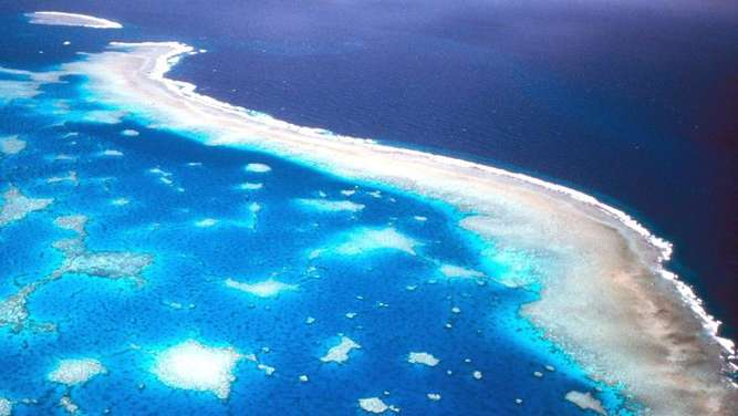 Luftaufnahme des Great Barrier Riffs vor der Küste Australiens. Foto: Great Barrier Reef Marine Park Authority/dpa