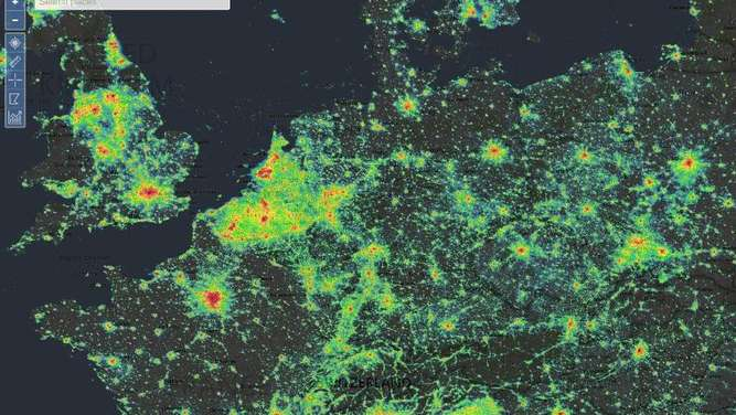 Wo viele Menschen leben, ist viel Licht: Das zeigt die Webseite lightpollutionmap.info recht eindrucksvoll. Screenshot: Lightpollutionmap.info Foto: Lightpollutionmap.info