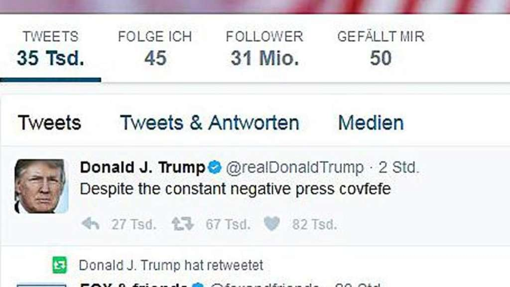 "Der ""covfefe""-Tweet. Foto: Donald Trump via Twitter"