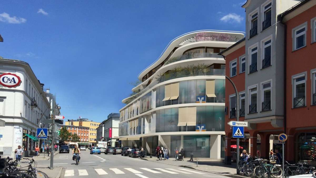 rosenheim vr bank plant neues geb ude in der bahnhofstra e rosenheim. Black Bedroom Furniture Sets. Home Design Ideas
