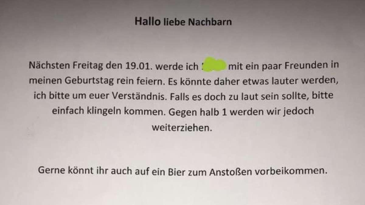 Text für nachbarn wegen party - niesumfarknit