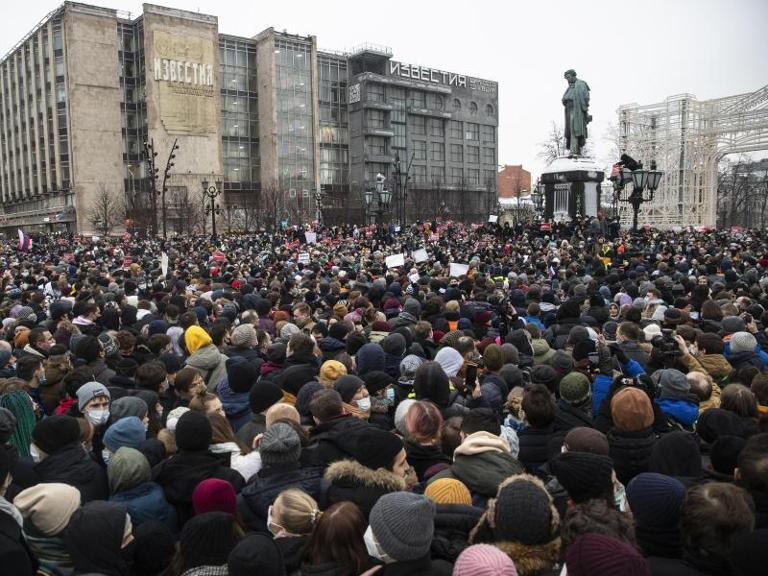 Demonstranten in Moskau